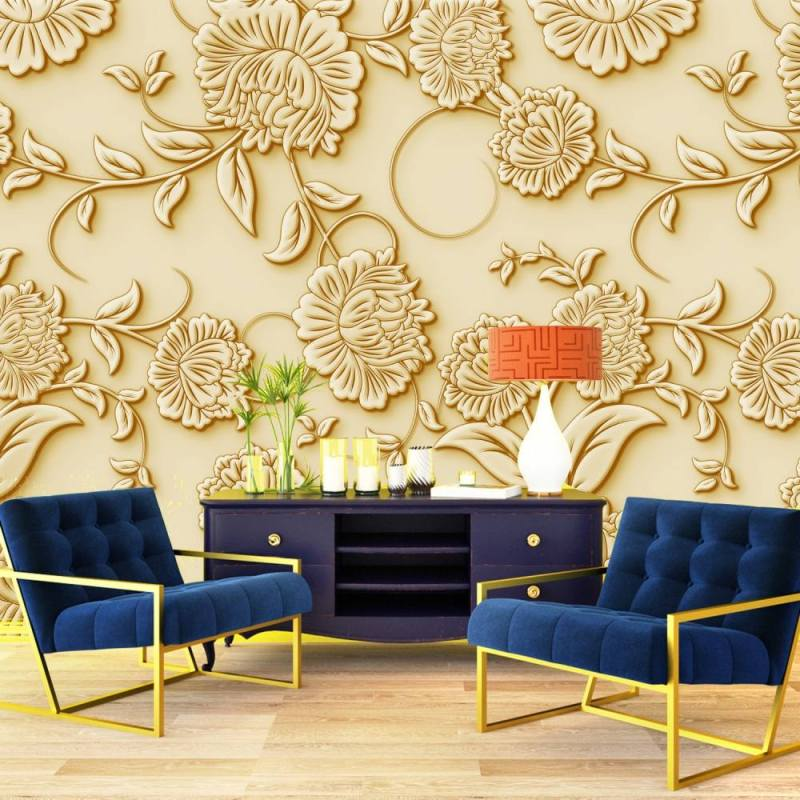 Buy Embossed Golden Roses Wallpaper 2