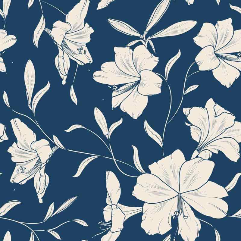 Blooming White Hibiscus Floral Wall Covering, Tapete 2