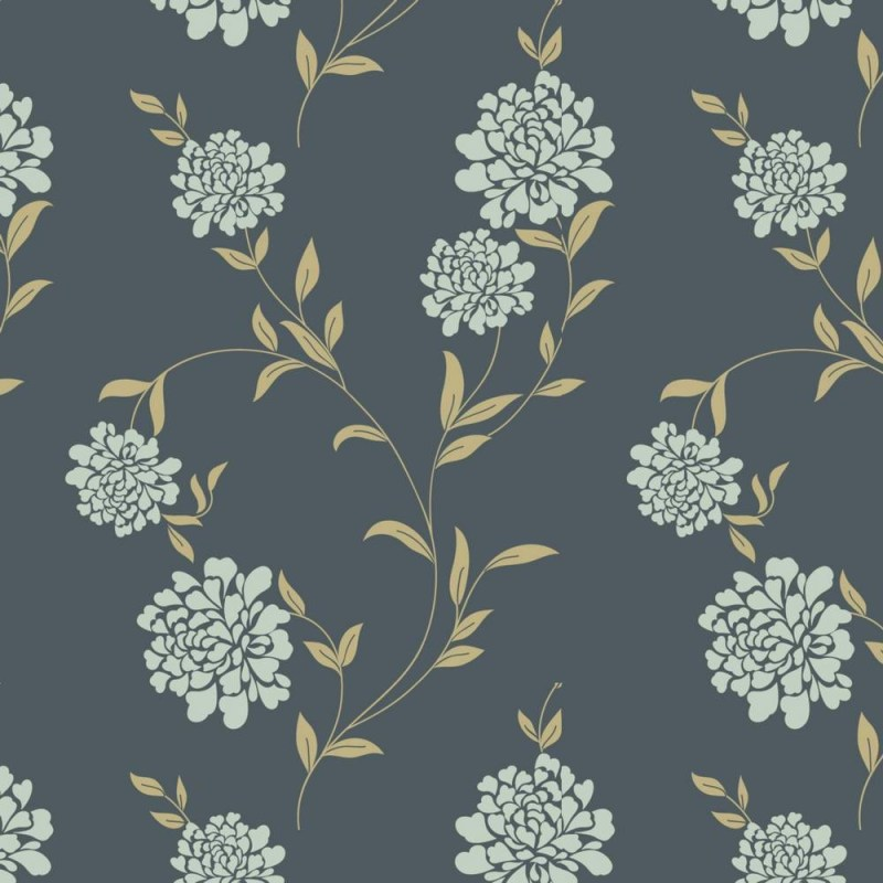 Grey Floral Removable Wallpaper 3