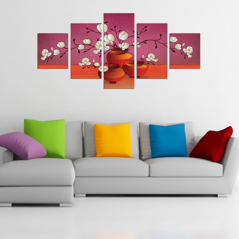 White wild flowers canvas wall art, canvas wall d?cor 1