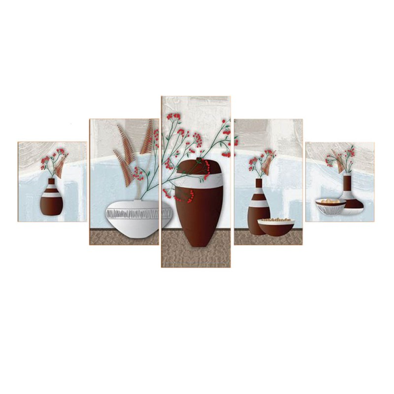 Brown and white flower pots canvas wall art, canvas wall decor 2