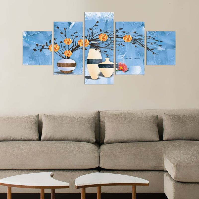 Orange flowers in white pots canvas wall art, canvas wall decor 1