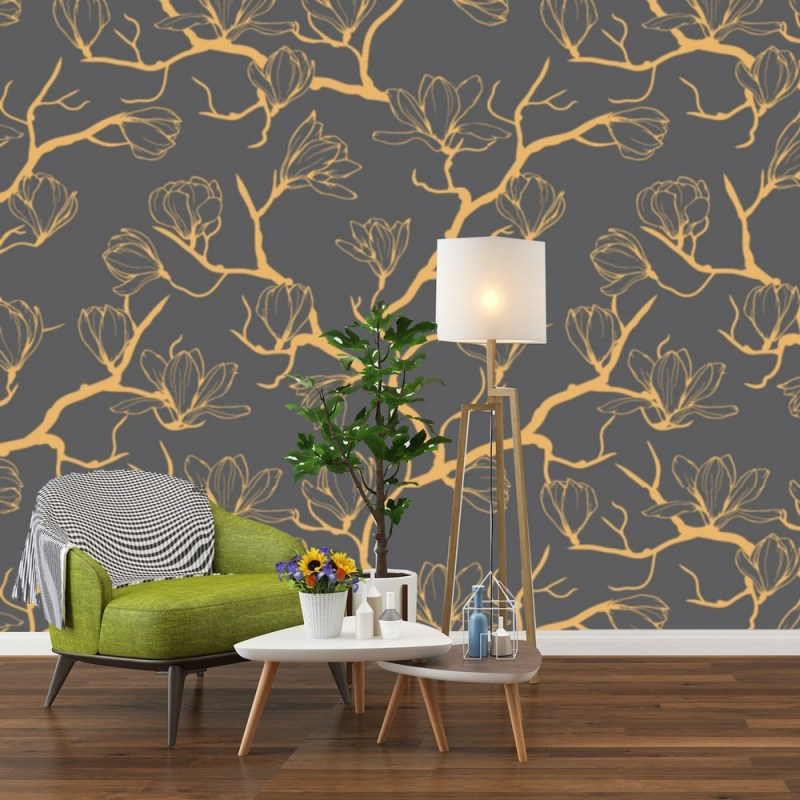 Buy Golden Magnolia Flower Pattern Wallpaper 1
