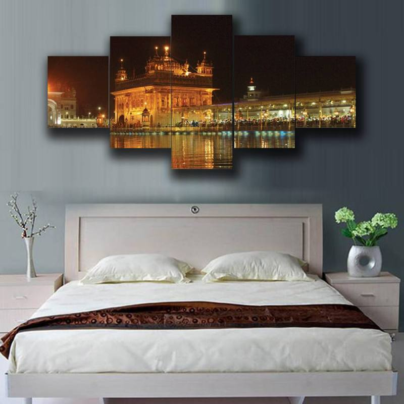 Buy Golden Temple canvas wall decor, 5 Panel Art 1