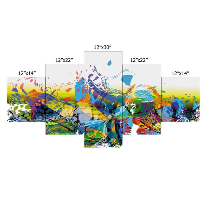 Green and blue brush stroke canvas wall art, 5 Panel Art 2