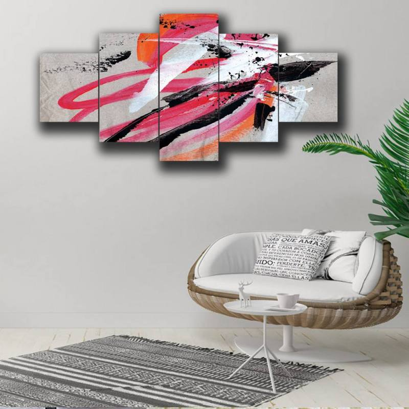 Black and pink brush stroke canvas wall decor, 5 Panel Art 1