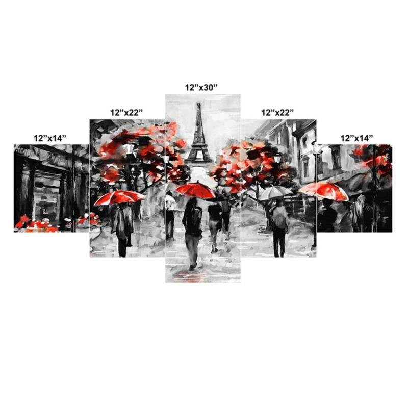 People in Paris canvas wall decor, 5 Panel Art 2