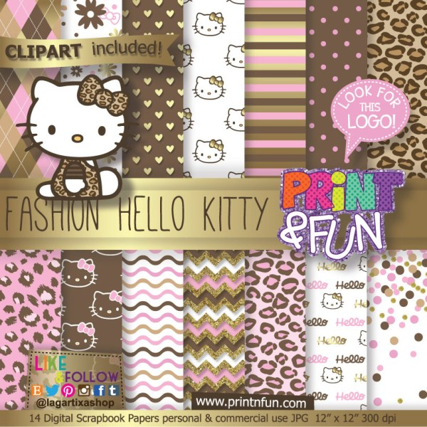 Kitty Gold Animal Print Digital Paper Patterns And