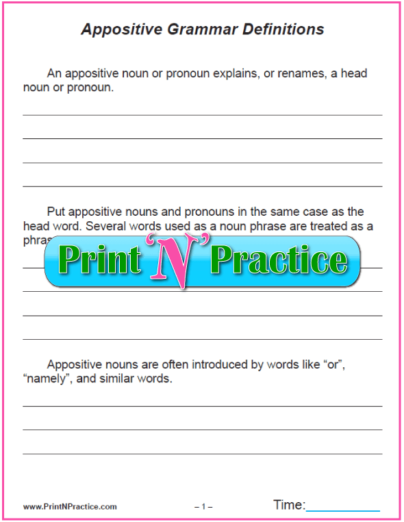 Simple Appositive Worksheets Examples Of Appositives And