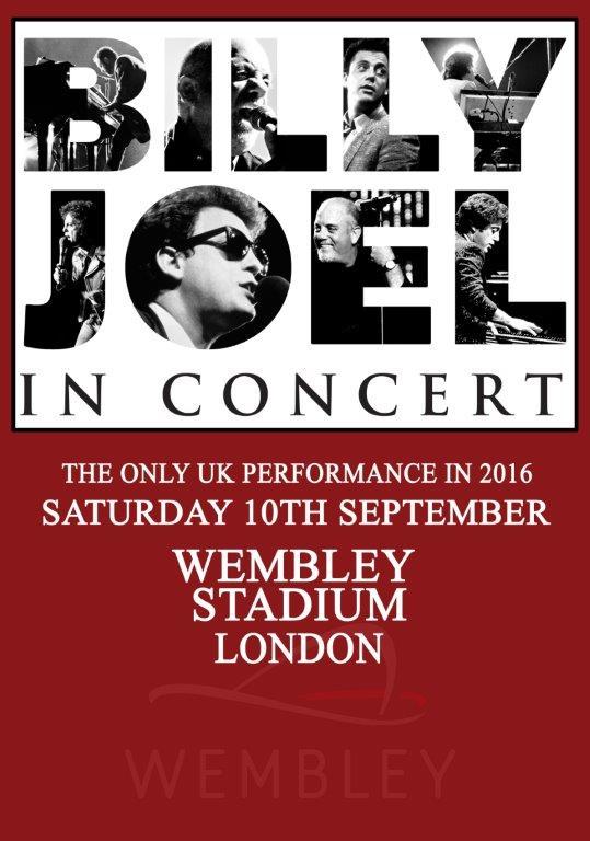 billy joel london wembley stadium 10th september 2016 poster