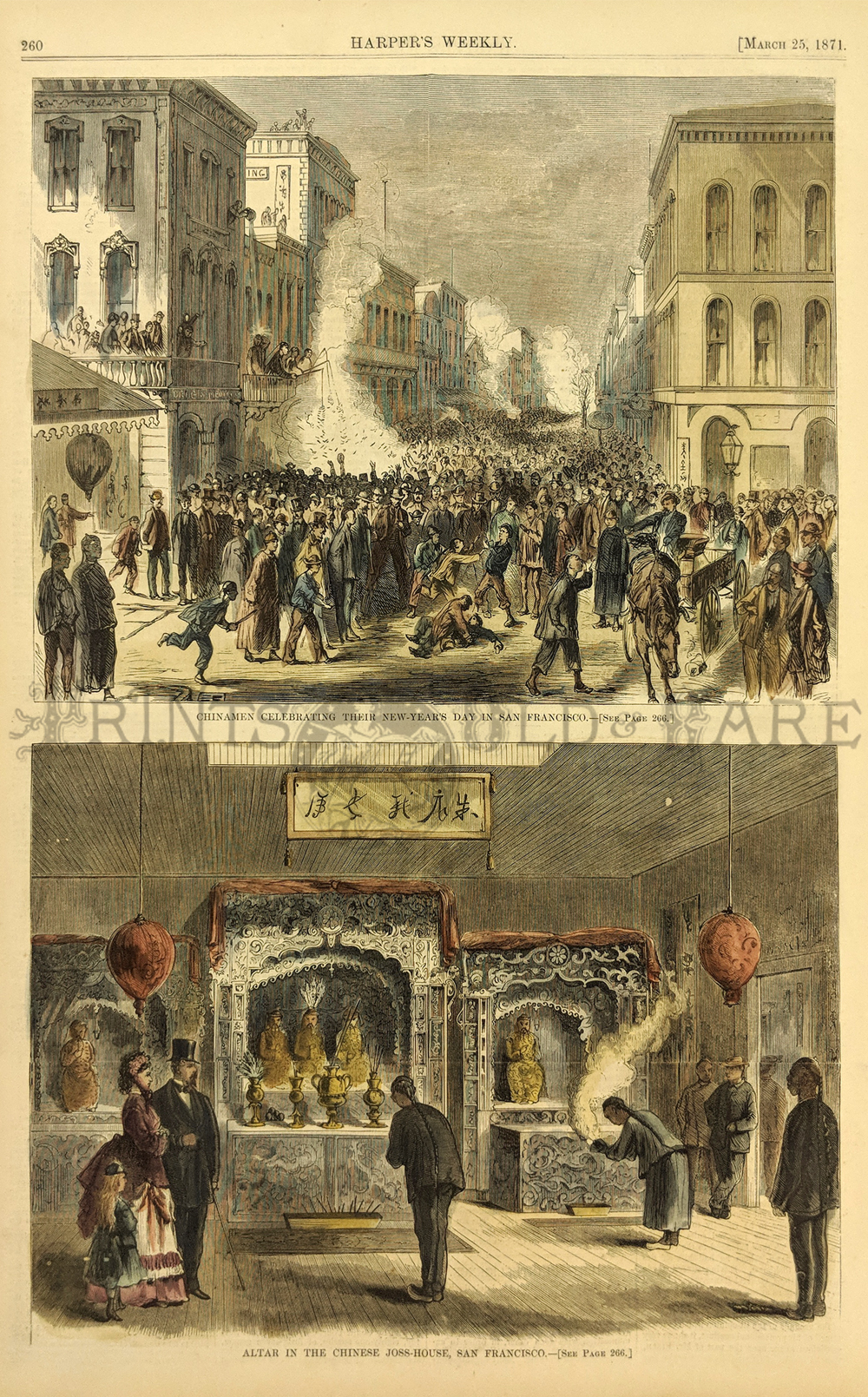 medium resolution of two views celebration of new year and chinese joss house 11x16 in 50