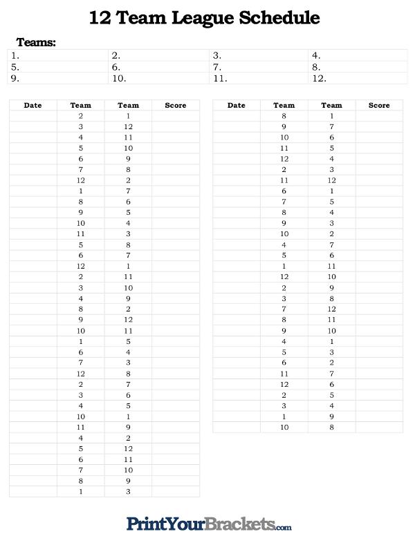 Printable 12 Team League Schedule