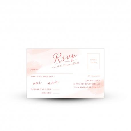 invitation mariage bucolique carton rsvp aux nuances roses pastel
