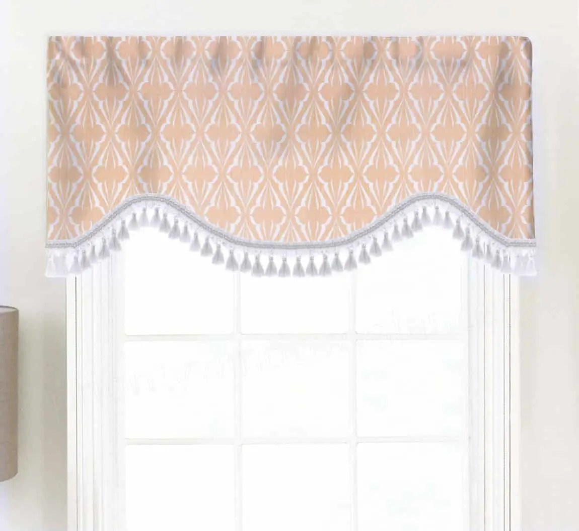Biscay Blue Green Salmon Pink Shaped Valance Curtain