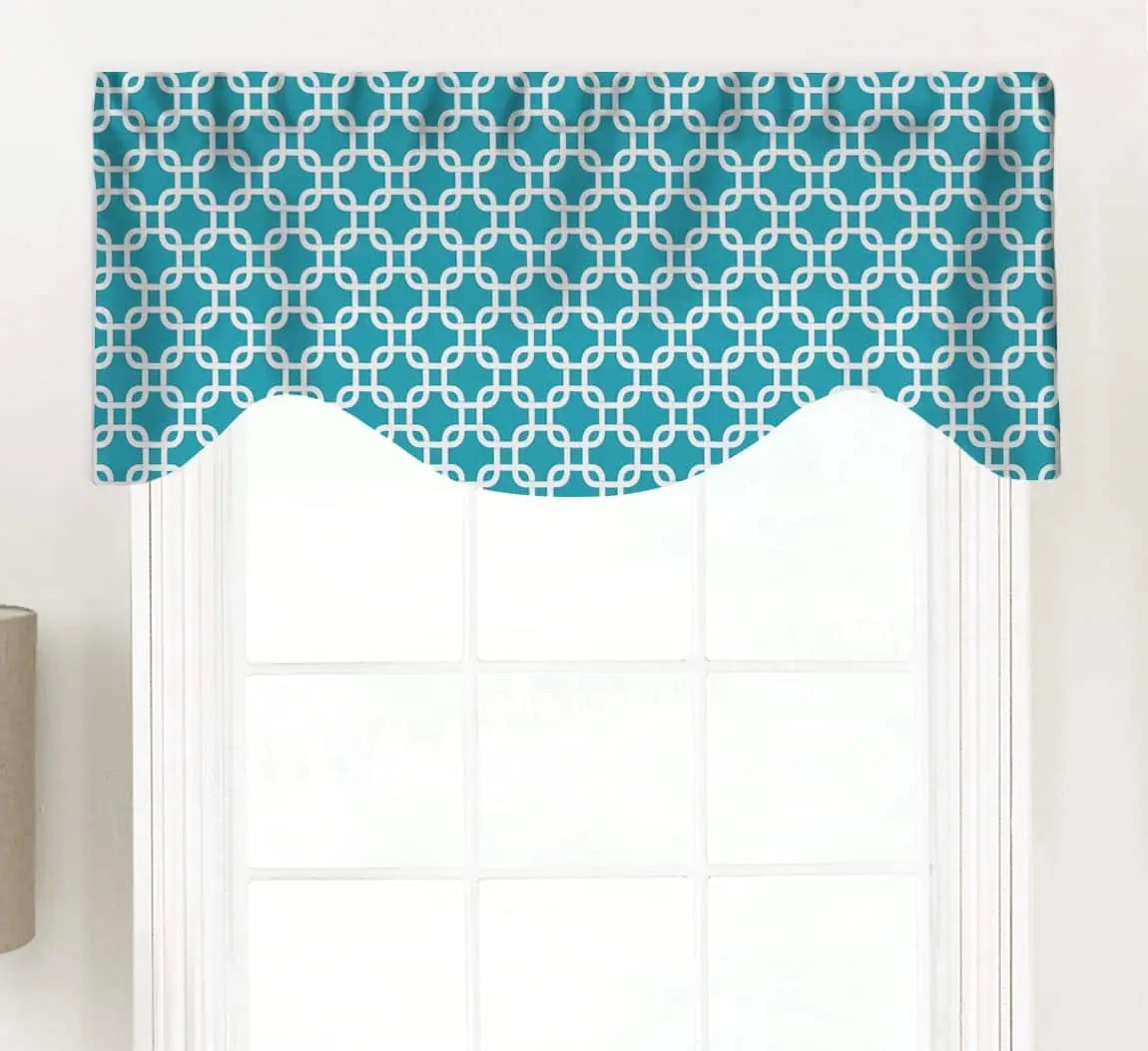 Gotcha Colorful Geometric Lattice Shaped Valance Curtain