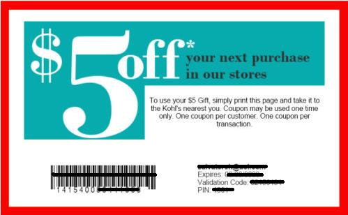 Kolhs Sample Coupon