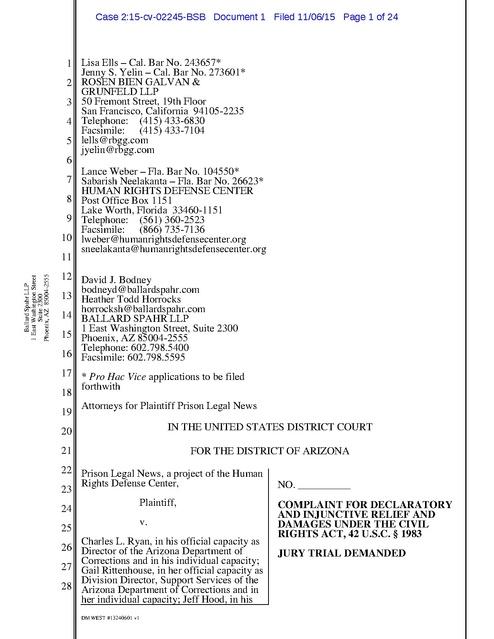 Prison Legal News v Ryan AZ Complaint Arizona DOC Censorship 2015  Prison Legal News