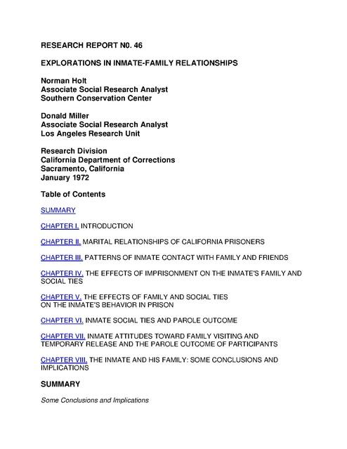 Holt Miller Prisoner And Family Relationship Recidivism Study 1972