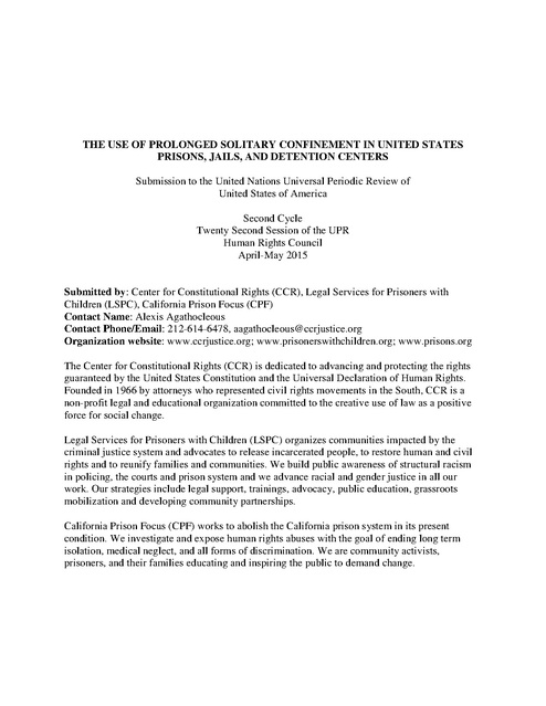 CCR The Use Of Prolonged Solitary Confinement In The United States