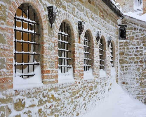 snowy prison windows