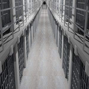 Rows of prison cells, prison interior.