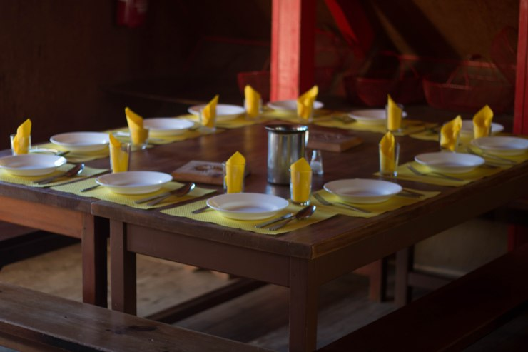 The table is set for dinner at a refuge