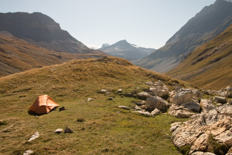 A picture of my tent in the camping spot at Refuge de La Leisse