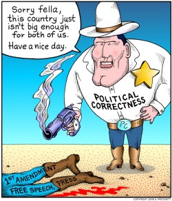 Image result for cartoon image politically correct sheriff