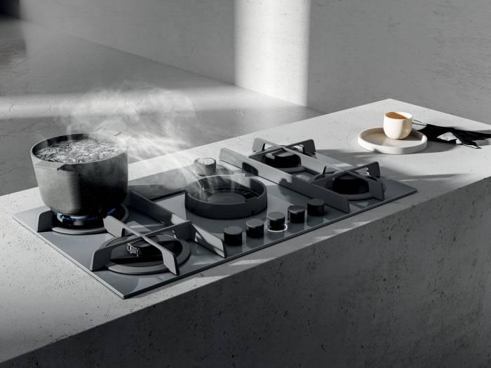 hotte plan de travail elica nikolatesla flame 88 cm coloris verre gris fonte prf0147742 modele evacuation elica