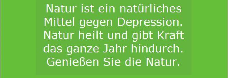 Natur hilft gegen Depression