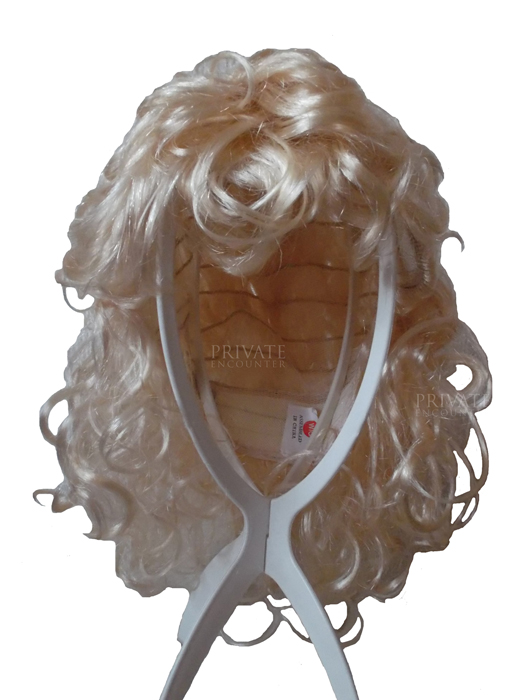 Curly Ladies Blonde Wig, Glamour, Sandy Grease, 1950's Fancy Dress Accessory