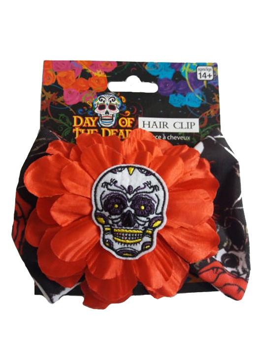 Ladies Day of the Dead, Skull Hairclip Fancy Dress Accessory Halloween