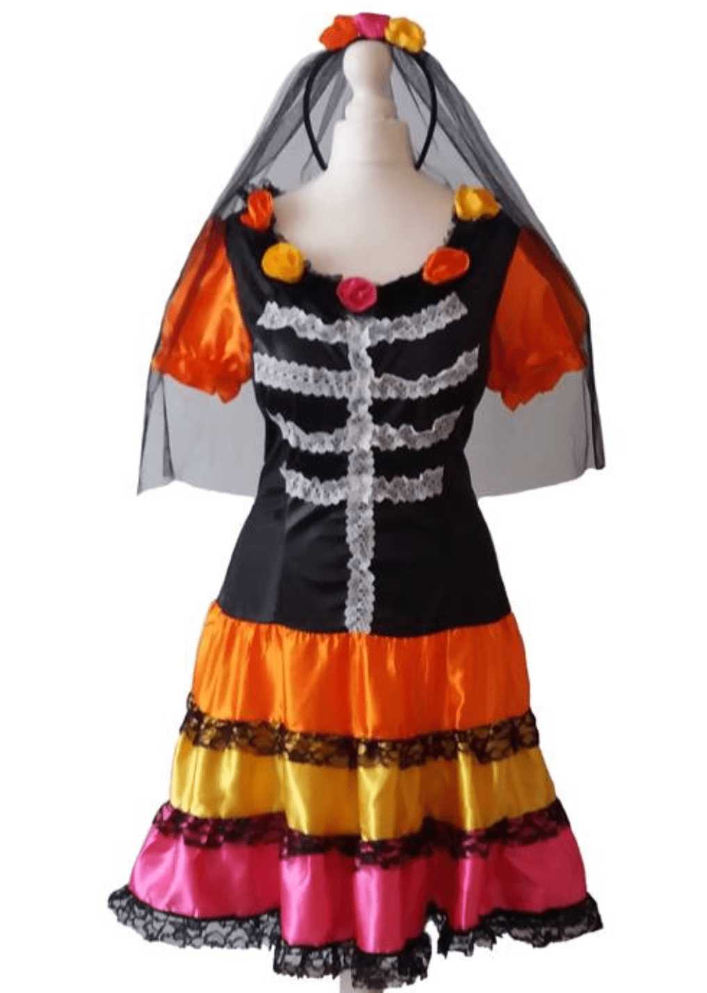 Day of the Dead Rose and Rainbow Halloween Dress, Fancy Dress Costume