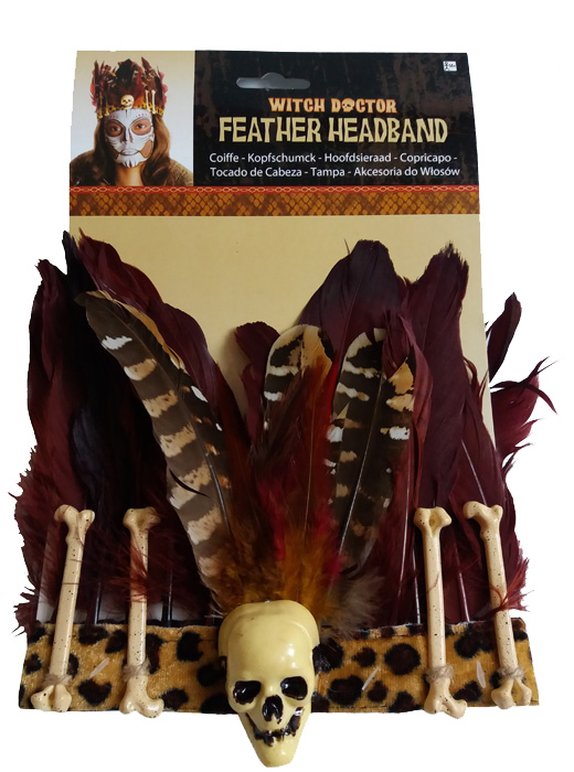 Witch Doctor Feather Skull & Bones Headband Fancy Dress Accessory, Halloween