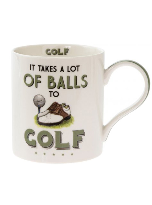 'It Takes A Lot Of Balls To Golf' Novelty Tea, Coffee Boxed Mug, Sports Gift, Present