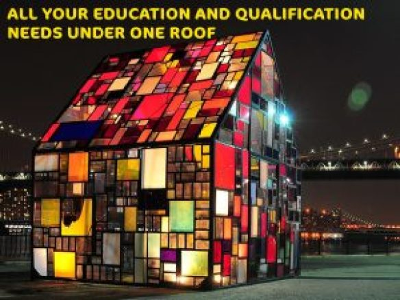 GCSE IGCSE and other qualifications we suppport including A Levels represented as a colourful house.