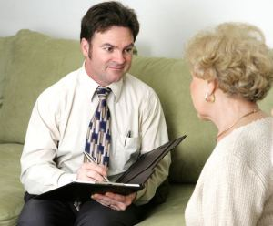 Claims investigator interviewing a claimant