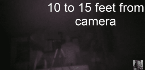 Night indoors 10 to 15 feet from camera