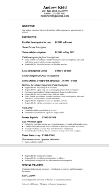 private investigator resume example and 10 p i  resume