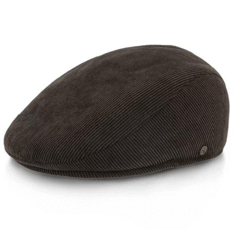 bonnet ascot en velours côtelé marron