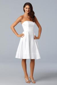 Knee length Off-White Shantung Self Belt Mini Ball ...