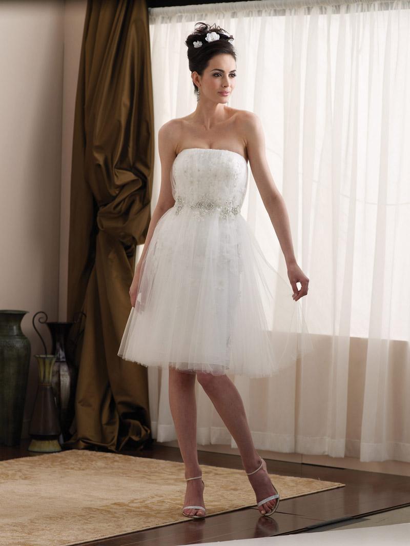 Short Tea length Taffeta Tulle Appliqus Informal Wedding Dress  zoombridalcom  PRLog