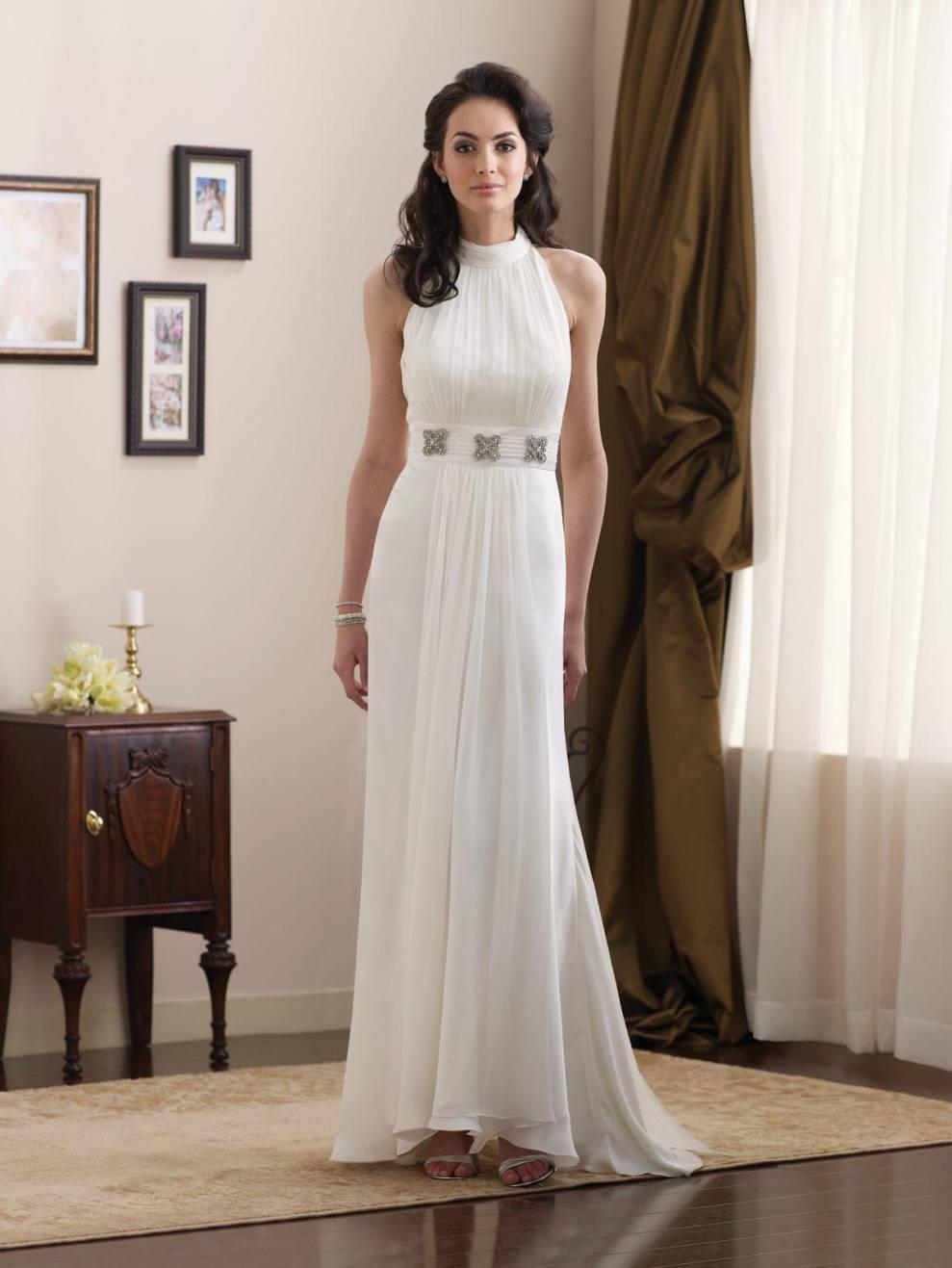 Simple High Halter Jeweled Broach Chiffon Informal Wedding Dress  zoombridalcom  PRLog