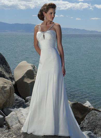 Simple Vshaped Beaded Chiffon Beach Destination Wedding Dress  zoombridalcom  PRLog