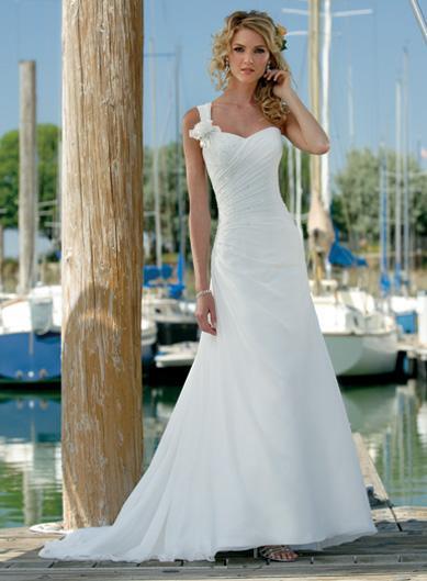 Simple One Shoulder Floral Chiffon Beach Destination Wedding Dress  zoombridalcom  PRLog