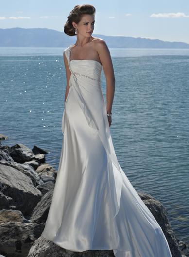 Ivory Romantic One shoulder Beaded Beach Destination Wedding Dress  PRLog