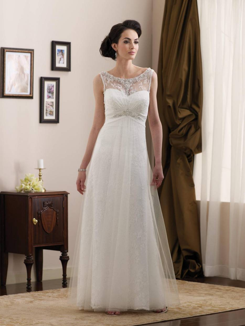 Simple Beaded Lace Satin Full Length Aline Informal Wedding Dress  zoombridalcom  PRLog
