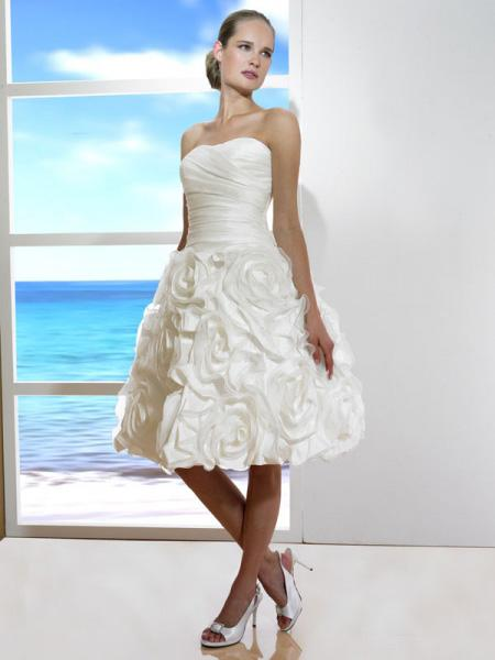 Ivory Short Tea length Flower Aline Silhouette Corset Wedding Dress  wwwzoombridalcom  PRLog