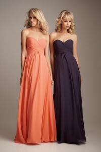 Salmon/Eggplant Chiffon Long Bridesmaid Dresses