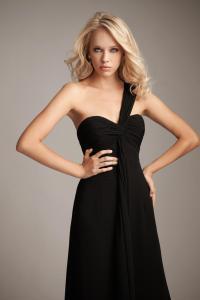 Black One Shoulder Strap Sheath Long Bridesmaid Dress | PRLog